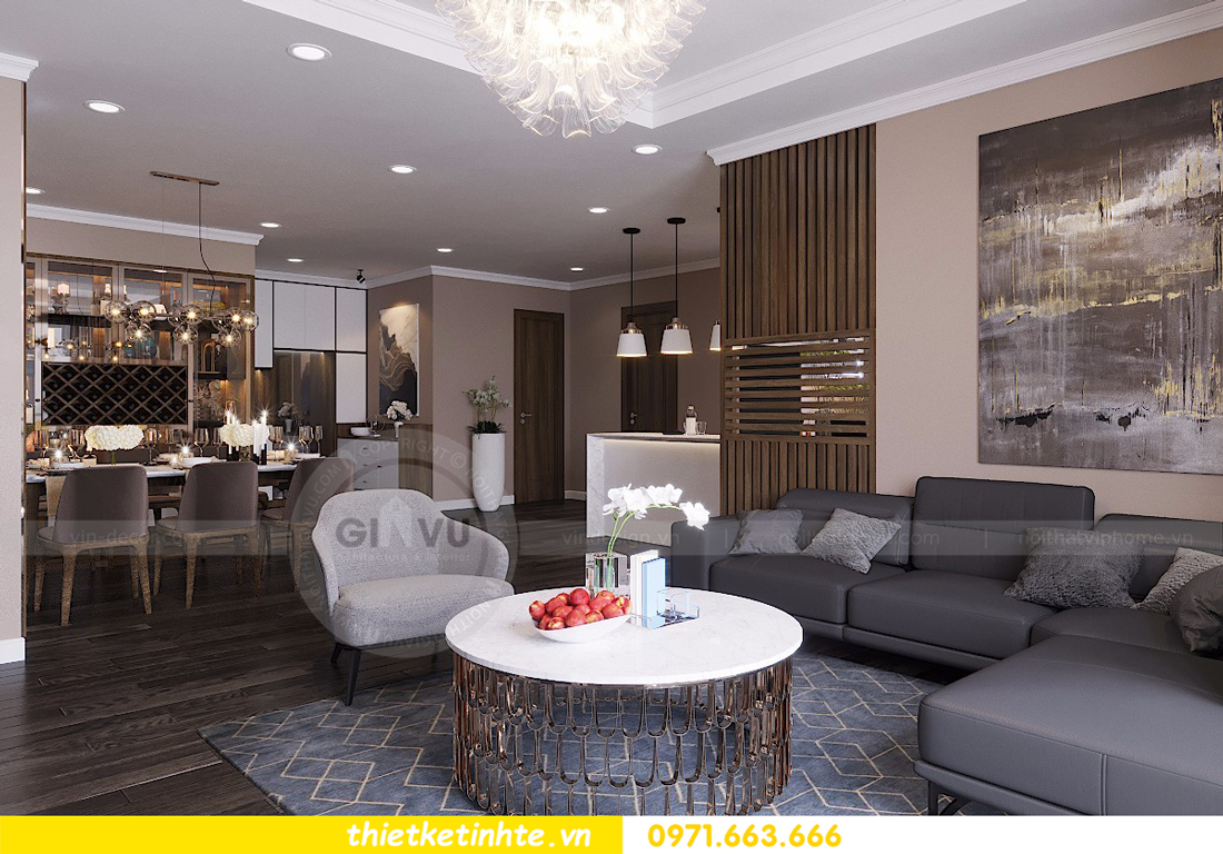 mẫu nội thất phòng khách chung cư D Capitale đẹp hiện đại 03
