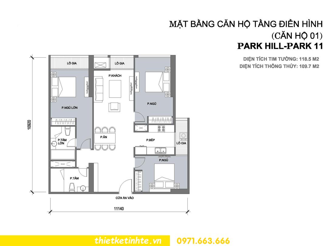 thiết kế nội thất chung cư Park Hill 11 căn 01 anh Hà 00