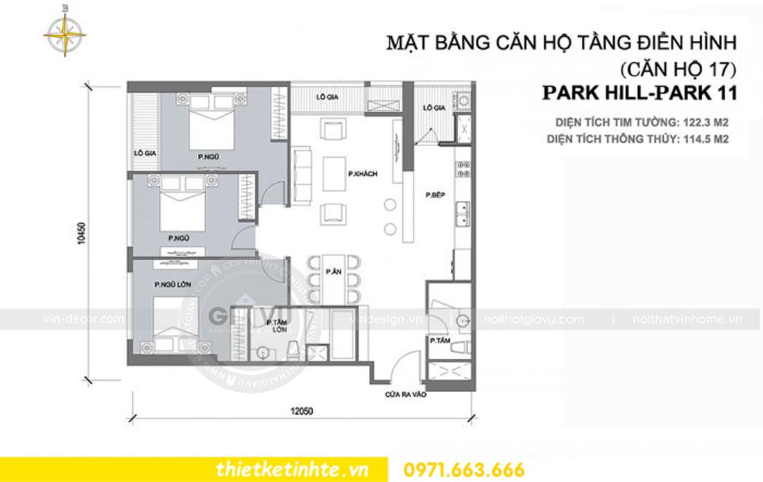 mặt bằng nội thất chung cư Park Hill 11 căn 17