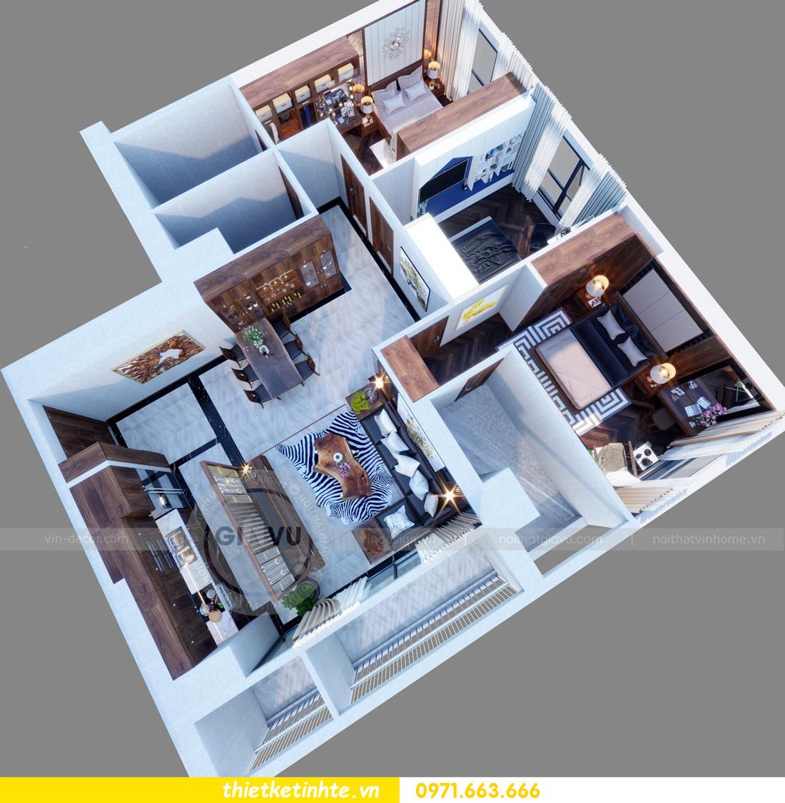 thiết kế nội thất chung cư Metropolis căn 01 tòa M1 01