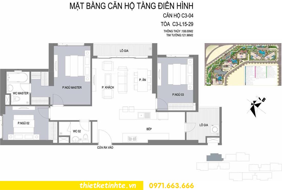 thiết kế nội thất Vinhomes D'Capitale toàn C3 căn 04 01