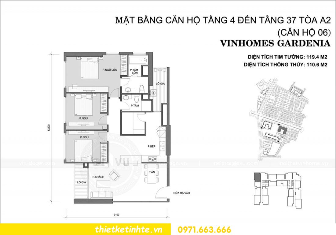 mặt bằng căn hộ 06 tòa A2 chung cư Gardneia