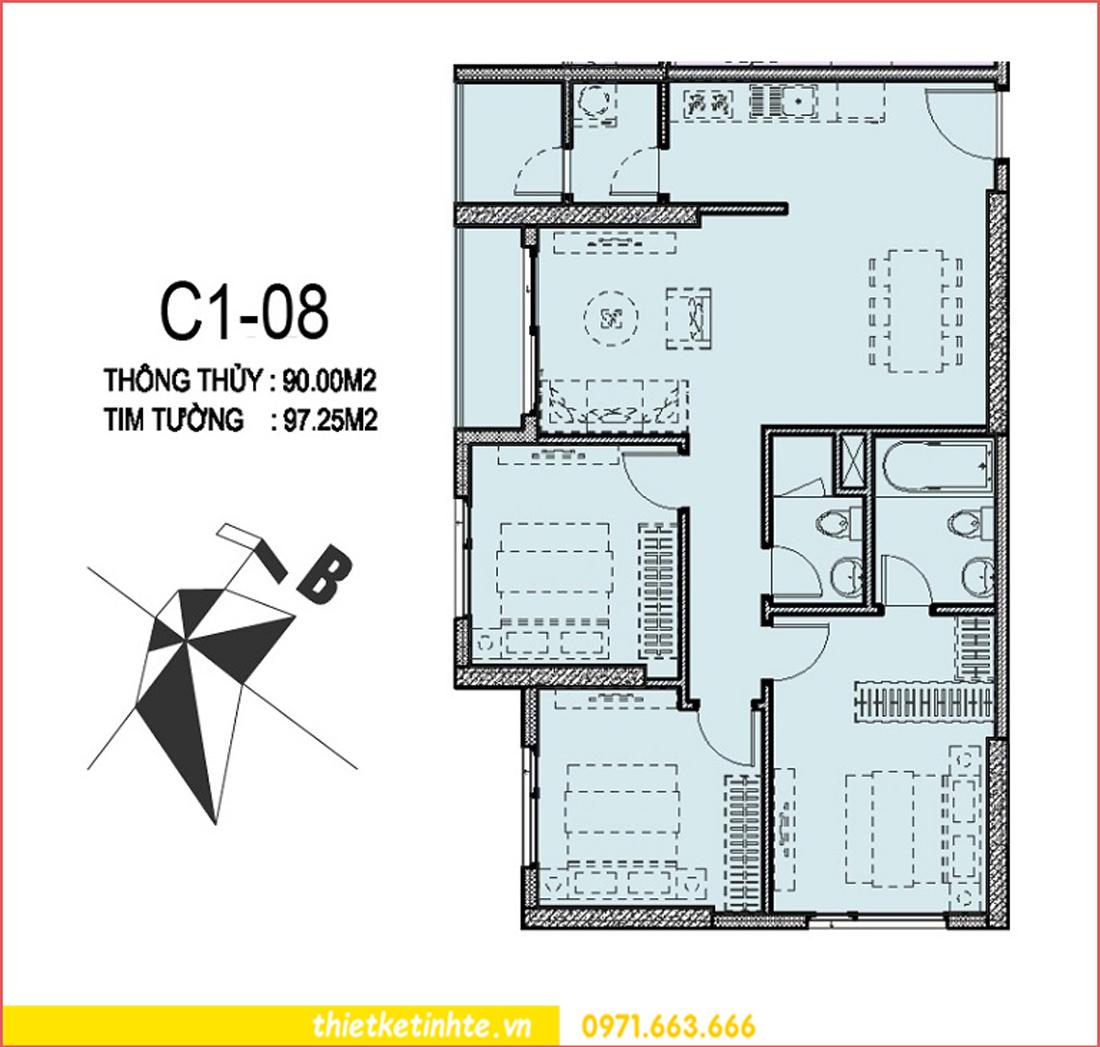 mặt bằng căn hộ 08 tòa C1 chung cư Vinhomes Trần Duy Hưng
