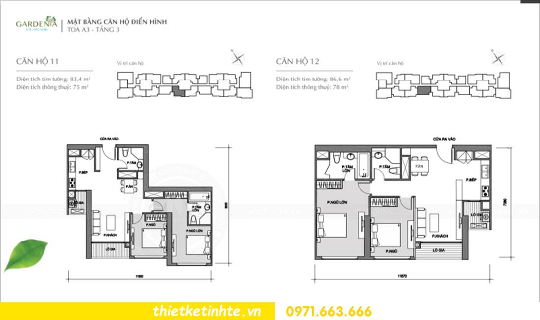 mặt bằng thiết kế nội thất chung cư Gardenia căn 11 tòa A3 Mr Thành