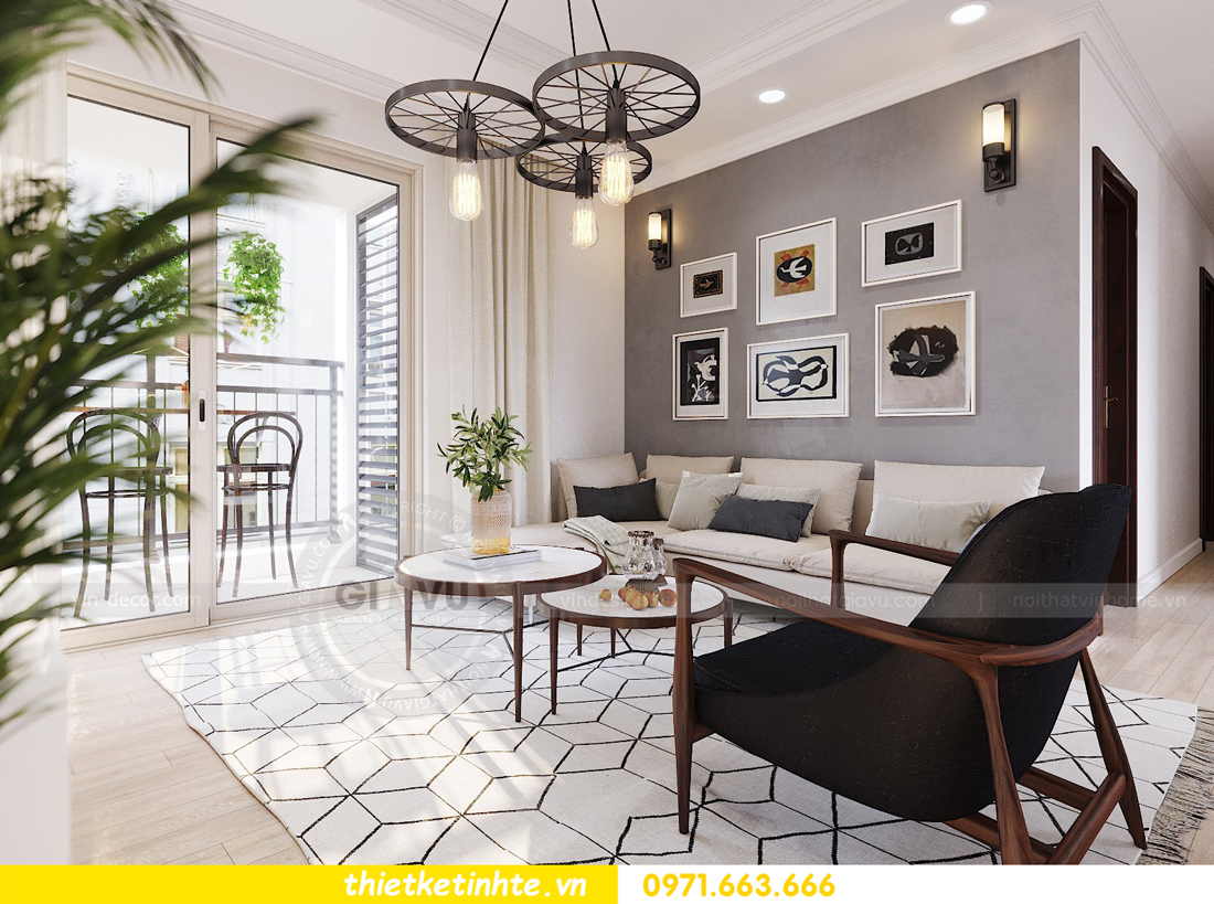 thiết kế nội thất căn hộ hiện đại anh bách chung cư Seasons Avenue 04