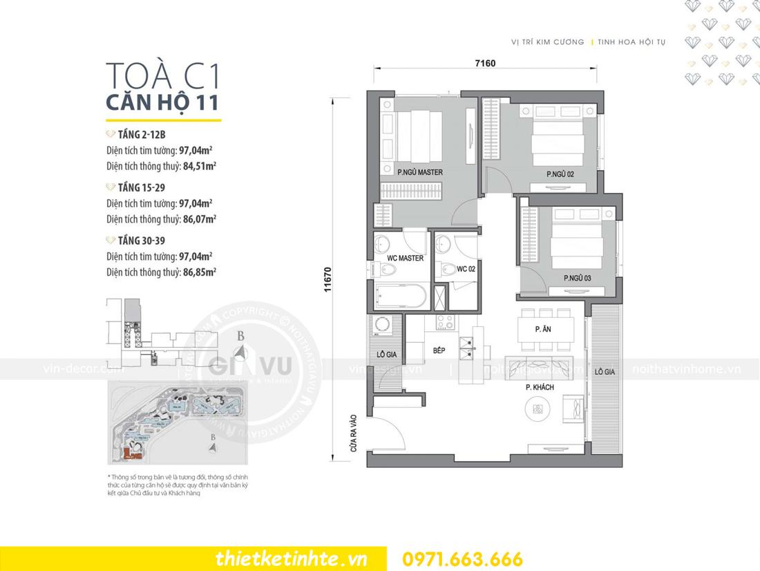 mặt bằng căn hộ 11 tòa C1 chung cư Vinhomes D Capitale Trần Duy Hưng
