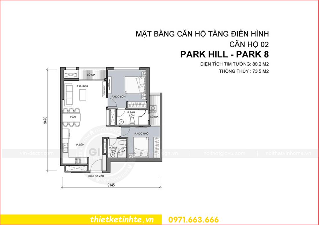mặt bằng căn hộ 02 tòa Park Hill 8