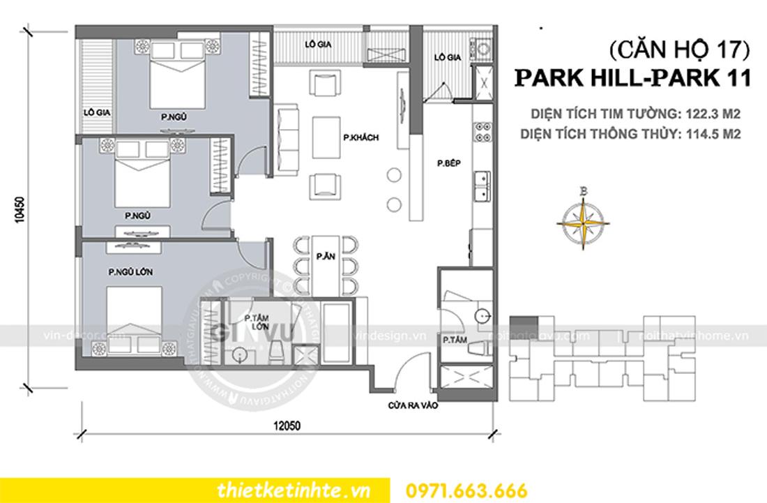 mặt bằng bố trí nội thất căn hộ 17 tòa Park Hill 11