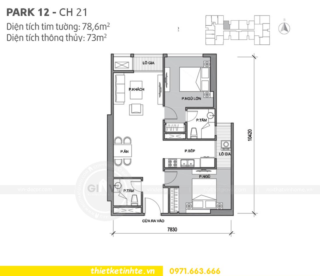 mặt bằng căn hộ 21 Park12 Vinhomes Park Hill Times City