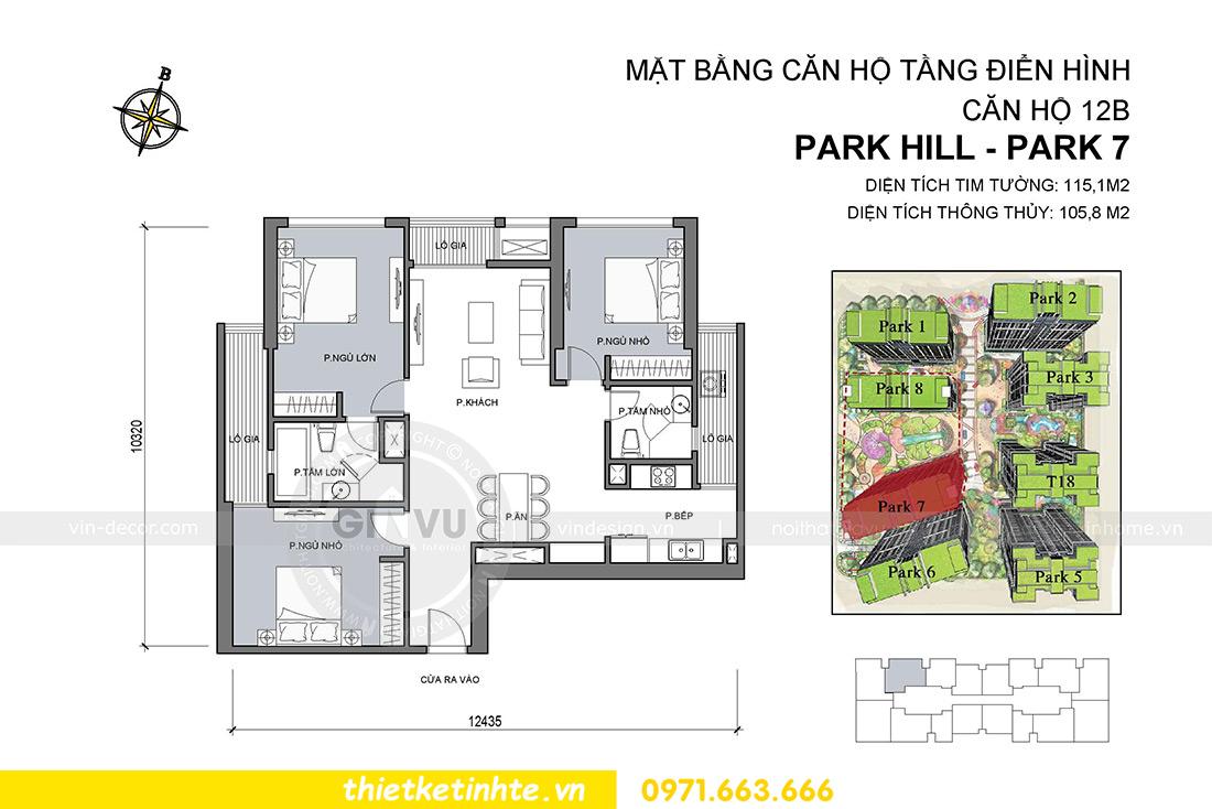mặt bằng chung cư Park Hill 7 căn hộ 12b