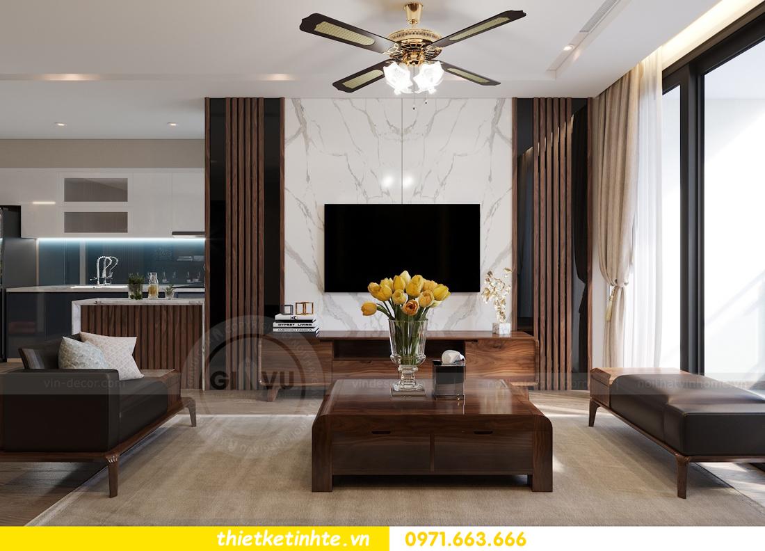 thiết kế nội thất gỗ óc chó tại chung cư Metropolis M2 0602 chú Bình 05