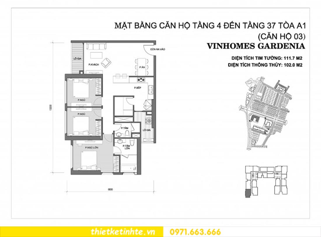mặt bằng căn hộ 03 tòa A1 Vinhomes Gardenia