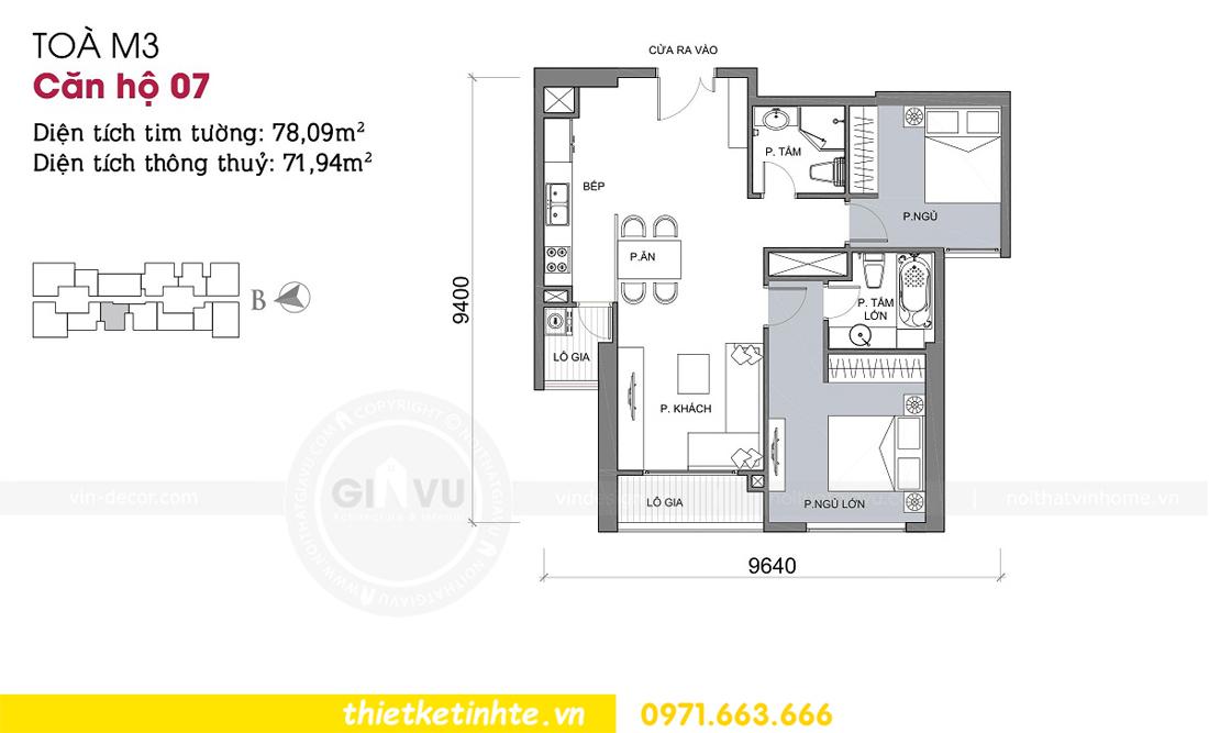 mặt bằng thiết kế căn hộ 07 tòa M3 chung cư Metropolis Liễu Giai