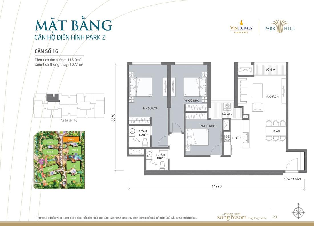 thiết kế hoàn thiện nội thất căn hộ 16 tòa P2 Vinhomes Park Hill