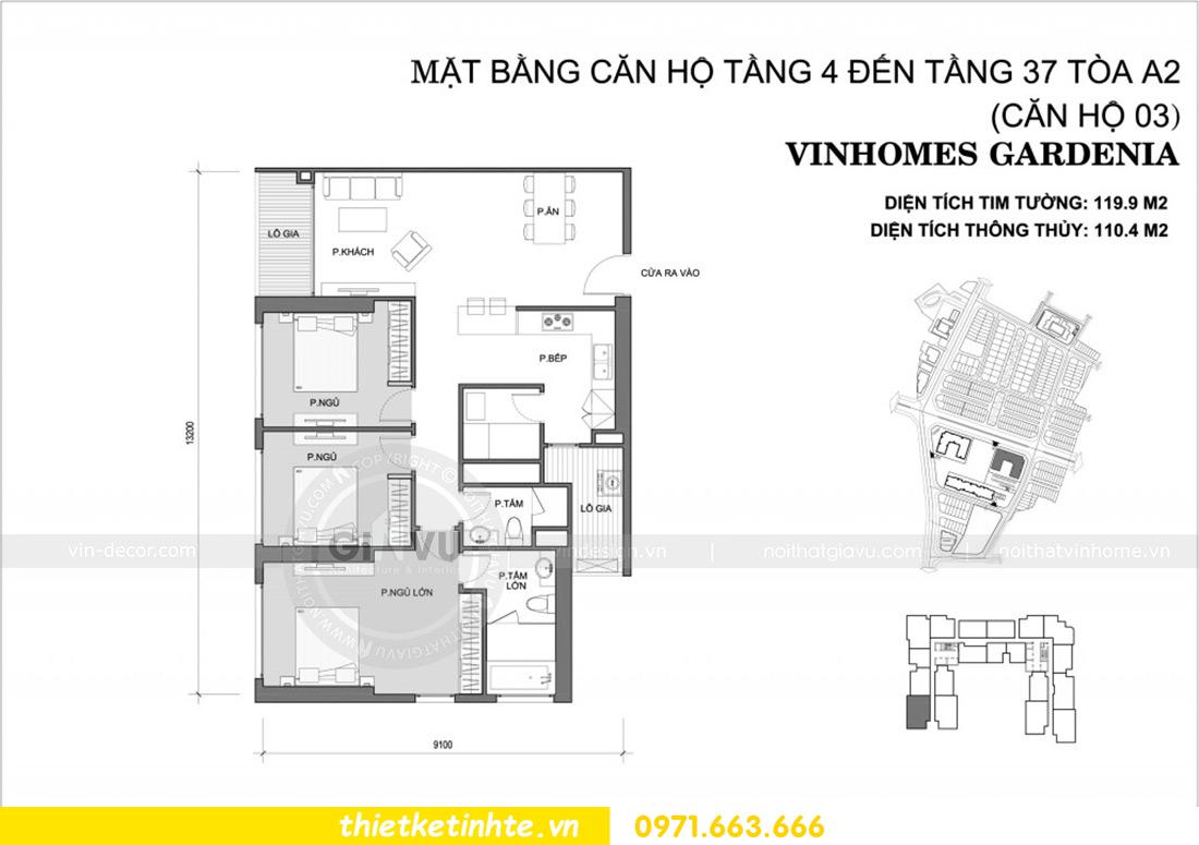 mặt bằng bố trí nội thất căn hộ 03 tòa A2 Vinhomes Gardenia
