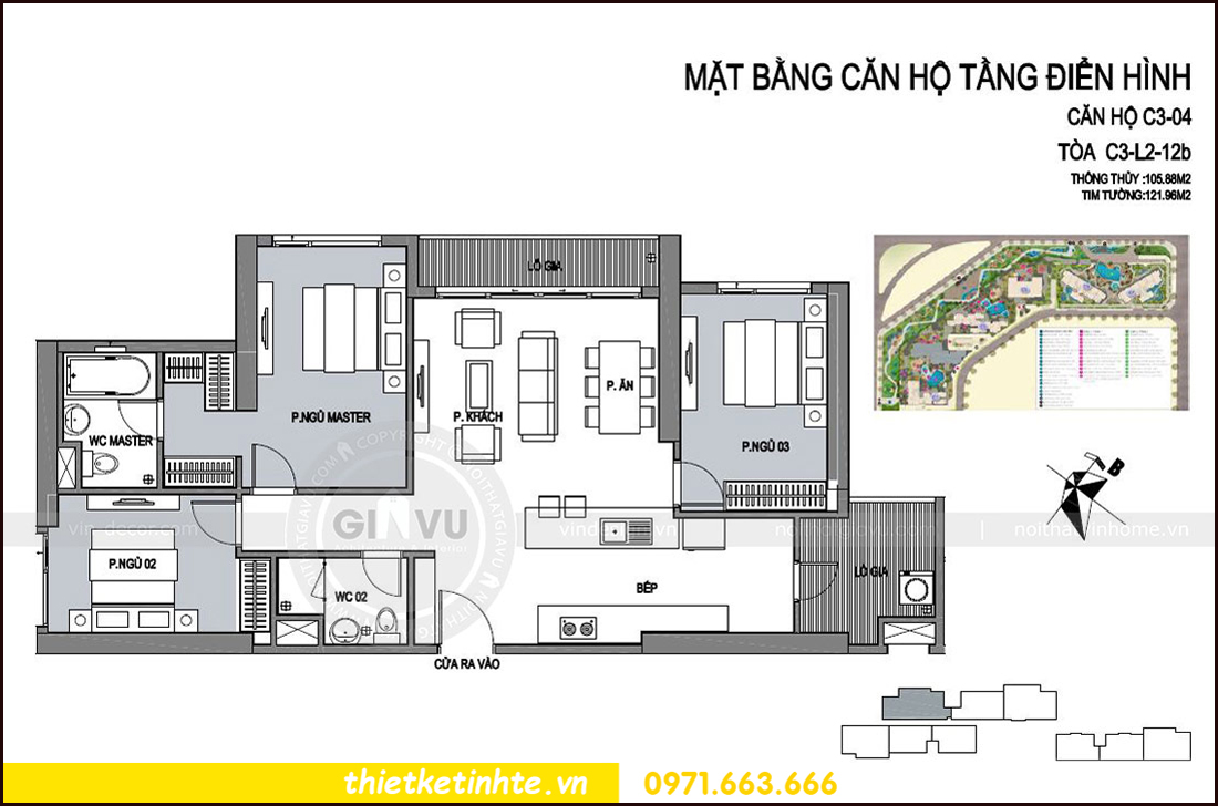 mặt bằng căn hộ 04 tòa C3 chung cư Vinhomes D Capitale Trần Duy Hưng