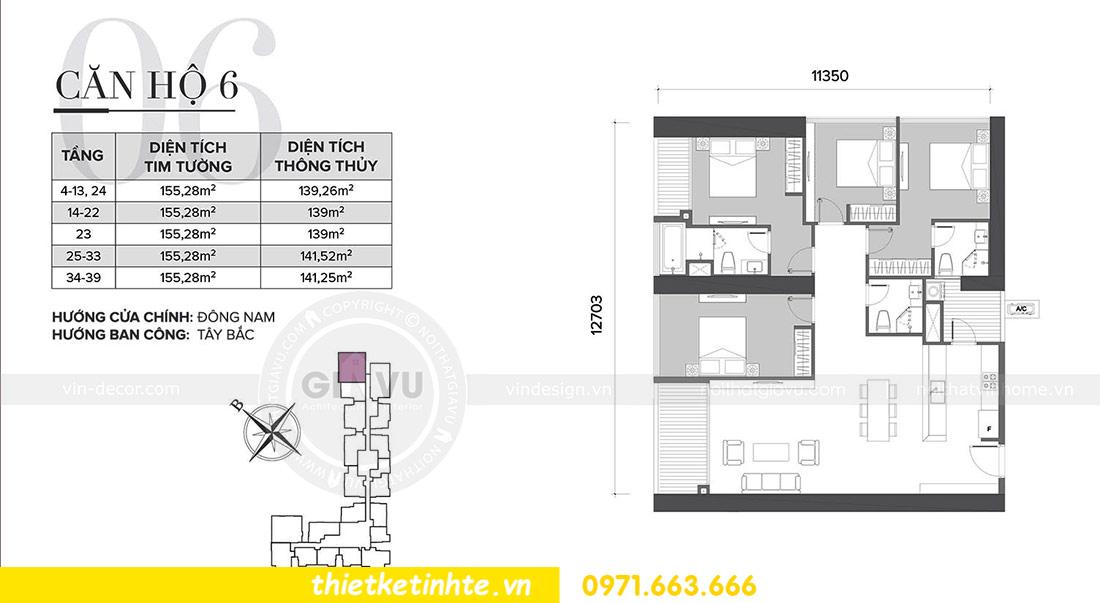 mặt bằng thiết kế nội thất căn hộ Sky Lake tòa S2 căn 06