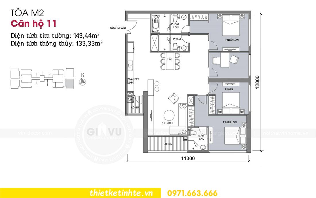 mặt bằng bố trí nội thất căn hộ 11 tòa M2 Vinhomes Metropolis