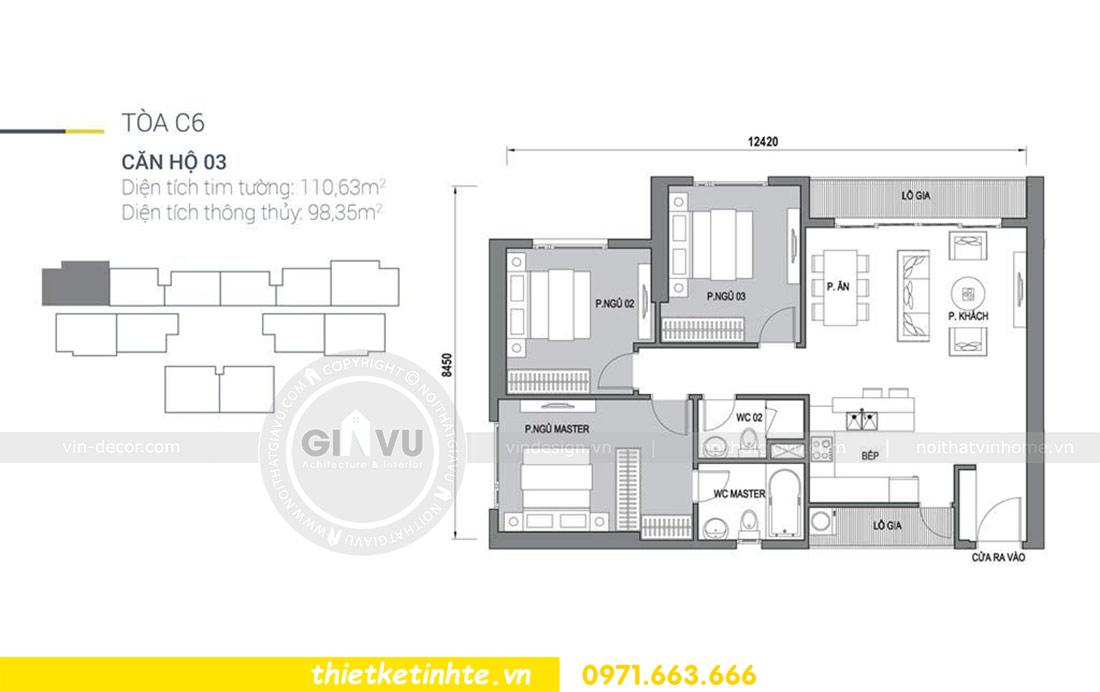mặt bằng căn hộ 03 tòa C6 Vinhomes D Capitale Trần Duy Hưng