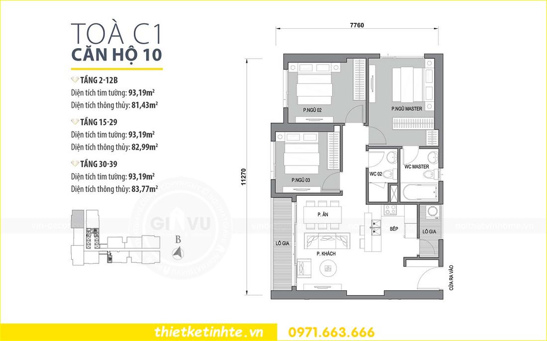 mặt bằng chung cư Vinhomes D Capitale tòa C1 căn 10