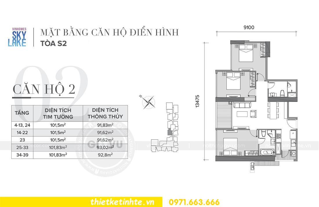 mặt bằng thiết kế căn hộ 02 tòa S2 Vinhomes Skylake Phạm Hùng