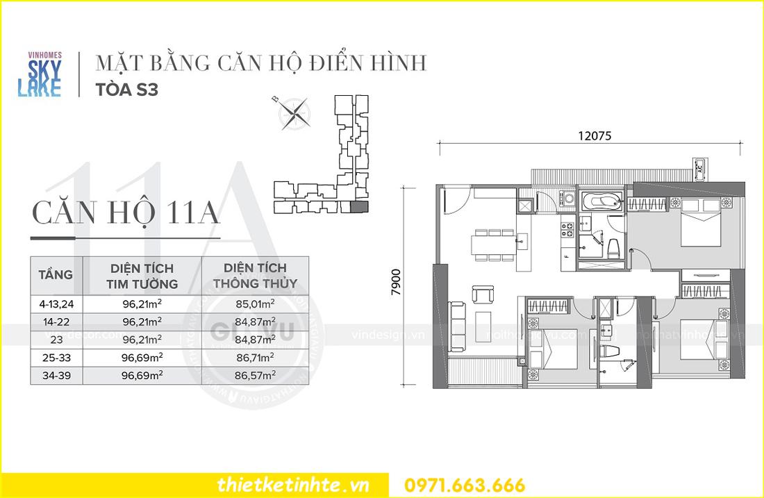 mặt bằng thiết kế nội thất căn hộ 11A tòa S2 Vinhomes Skylake Phạm Hùng