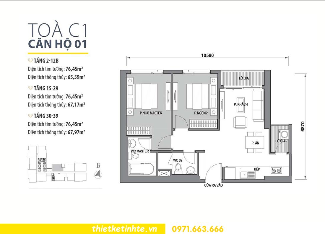 mặt bằng bố trí căn hộ 01 tòa C1 Vinhomes D Capitale