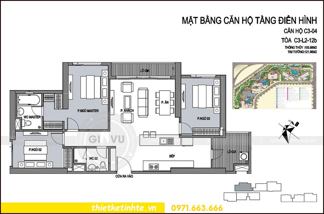 mặt bằng thiết kế căn hộ 04 tòa C3 chung cư Vinhomes D Capitale