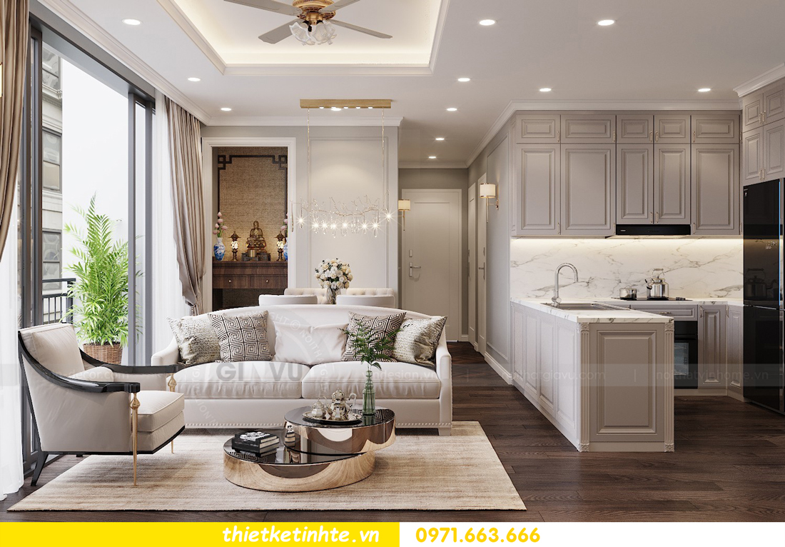 thiết kế nội thất chung cư 3 phòng ngủ căn C110 DCapitale 02