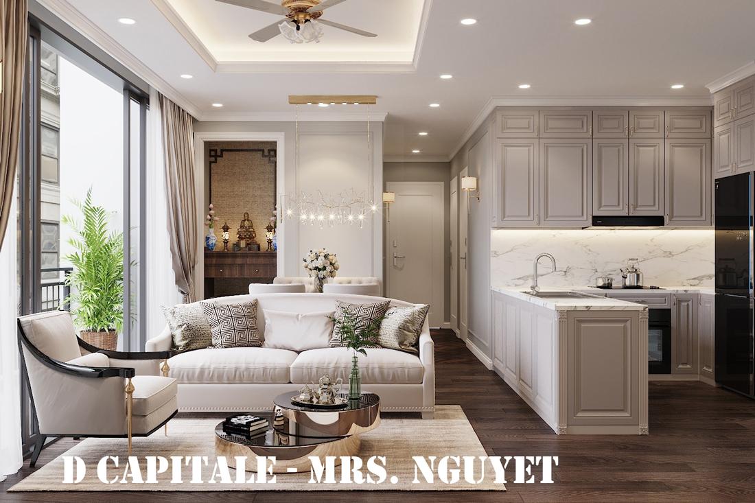 Thiết kế nội thất chung cư 3 phòng ngủ căn C110 DCapitale chị Nguyệt