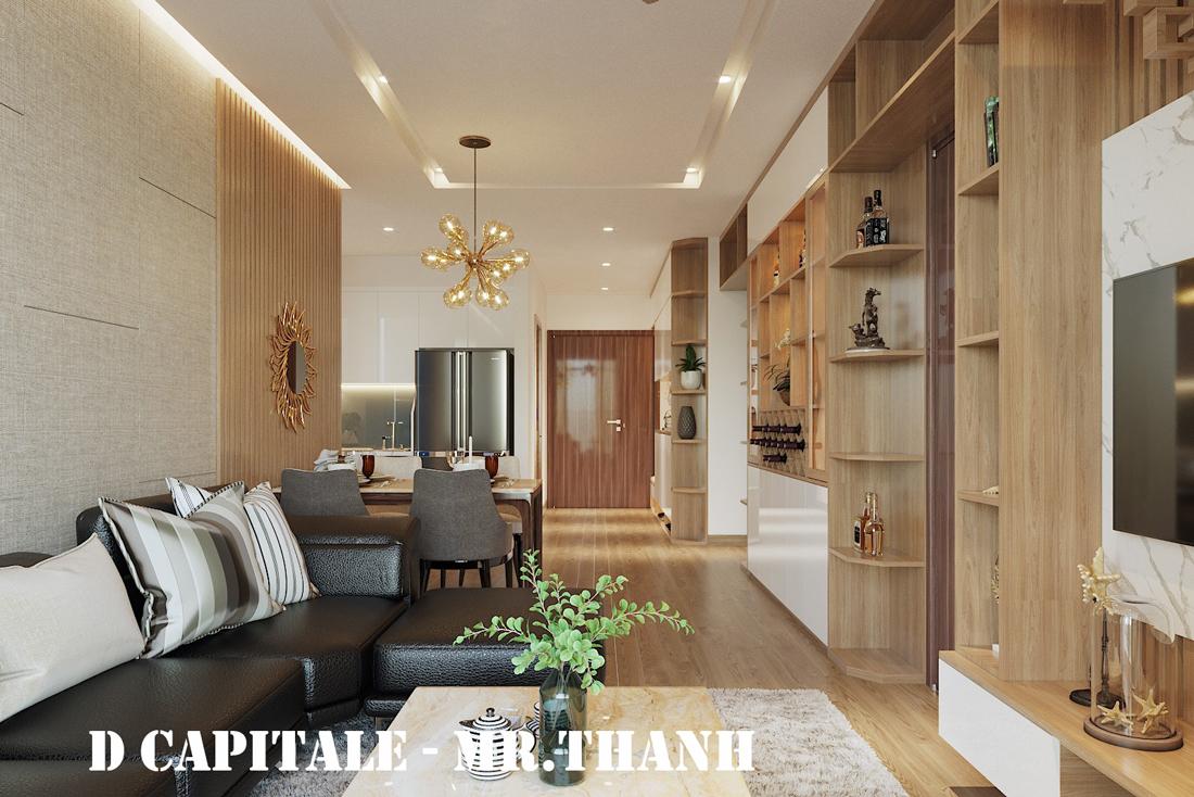 Thiết kế nội thất chung cư 70m2 tại Vinhomes Metropolis