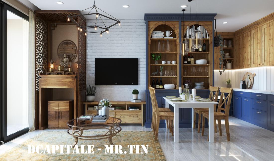Thiết kế nội thất chung cư theo phong cách Vintage nhà anh Tín