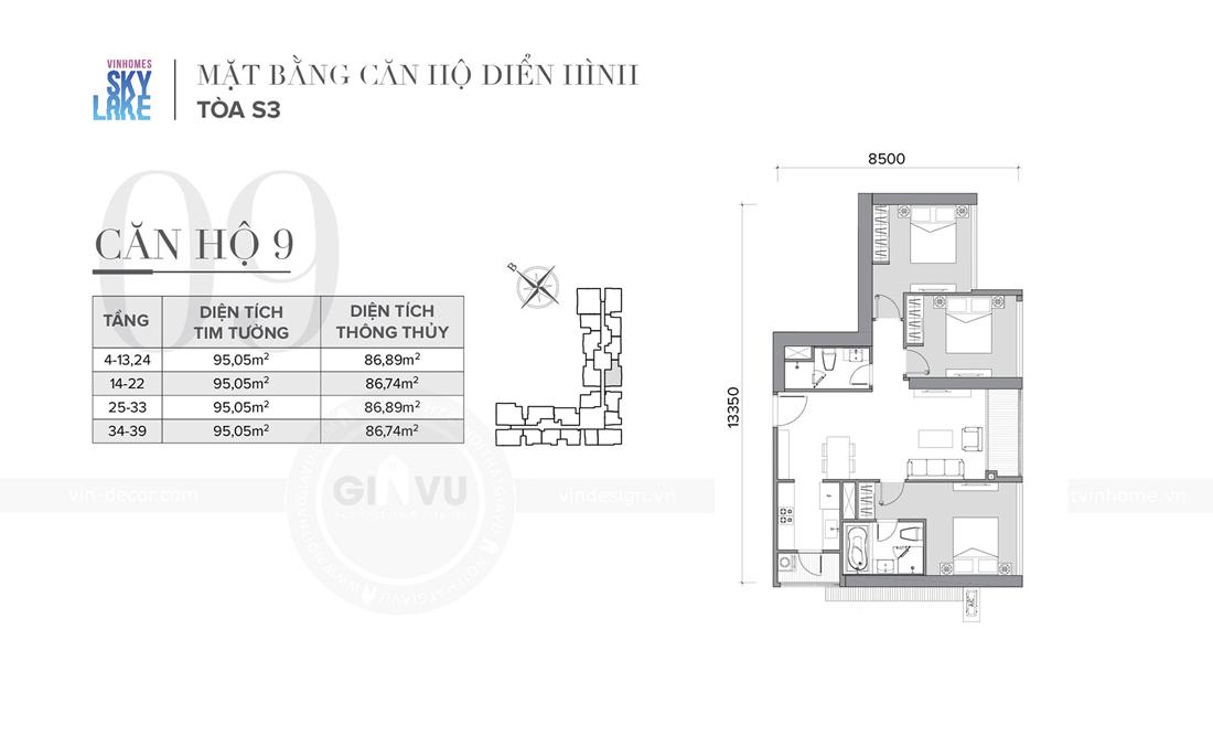 mặt bằng căn hộ 09 tòa S3 Vinhomes Skylake