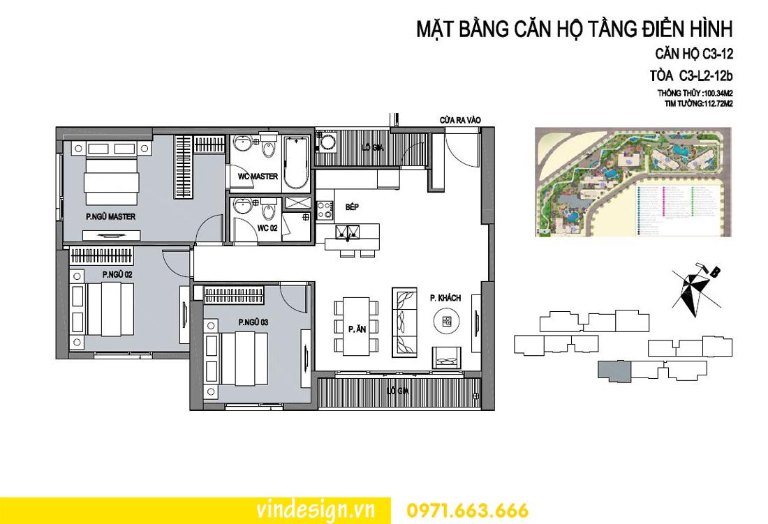 mặt bằng căn hộ 12 tòa C3 Vinhomes D Capitale Trần Duy Hưng