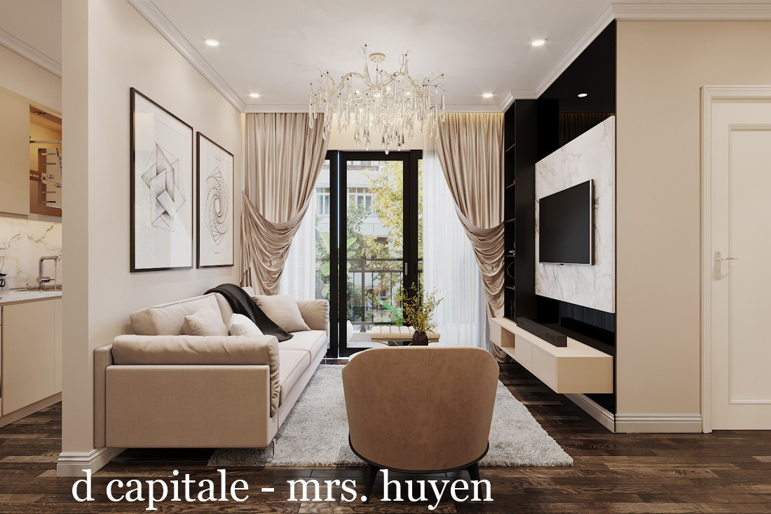 Mẫu thiết kế nội thất chung cư D Capitale C109 nhà chị Huyền