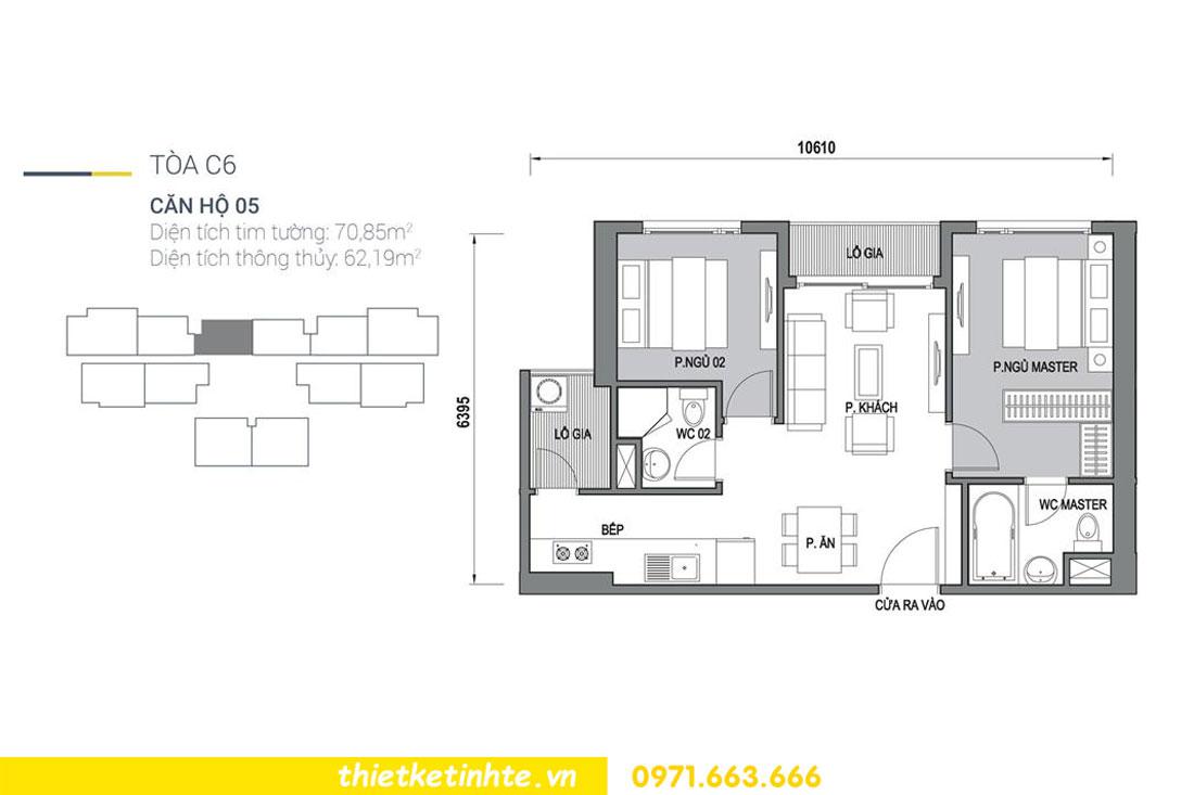 mặt bằng căn hộ 05 tòa C6 chung cư DCapitale