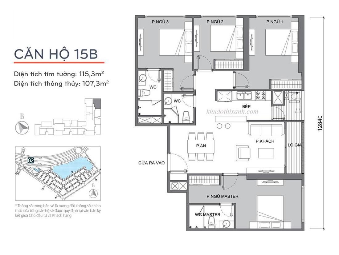 mặt bằng căn hộ 15B tòa G2 Vinhomes Green Bay