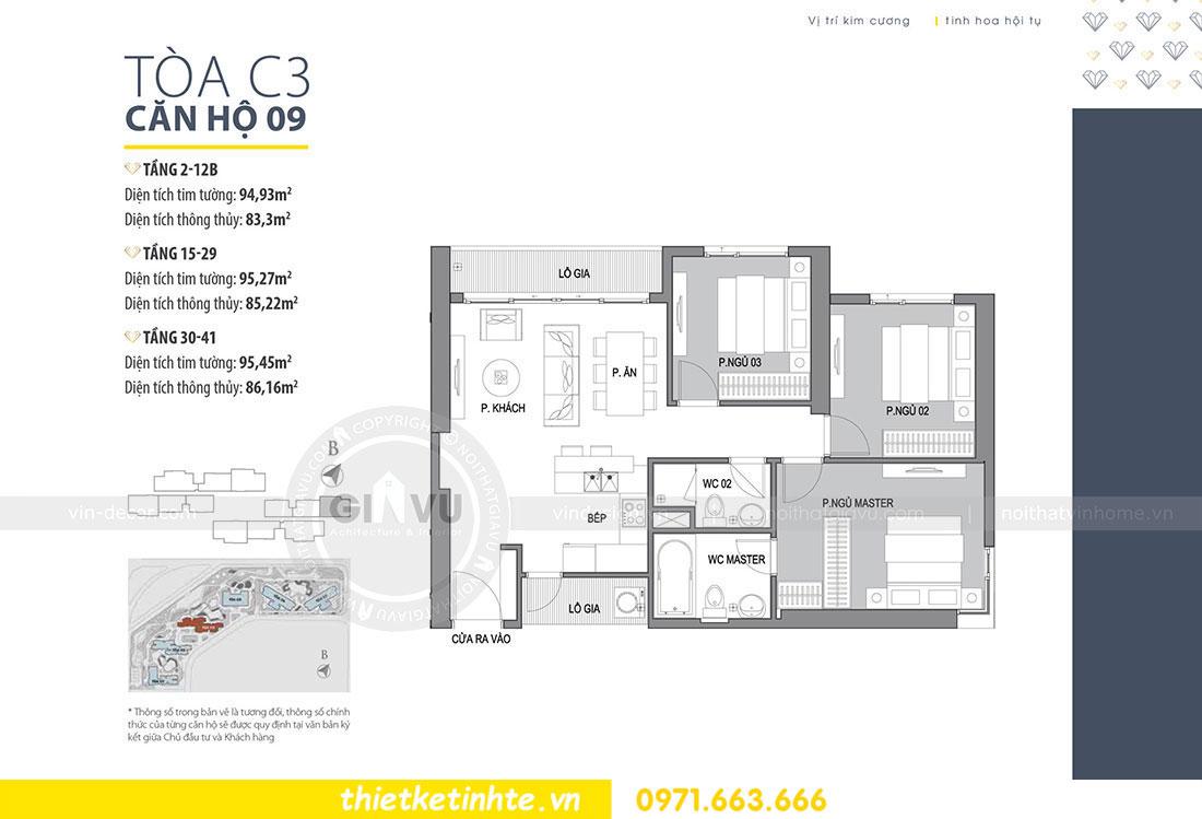 mặt bằng thiết kế nội thất chung cư DCapitale tòa C3 căn 09