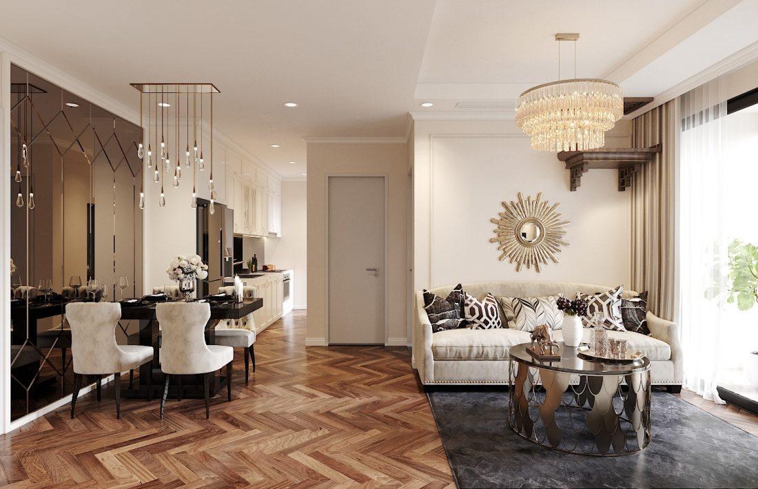 Mẫu thiết kế nội thất chung cư 70m2 với 2 phòng ngủ