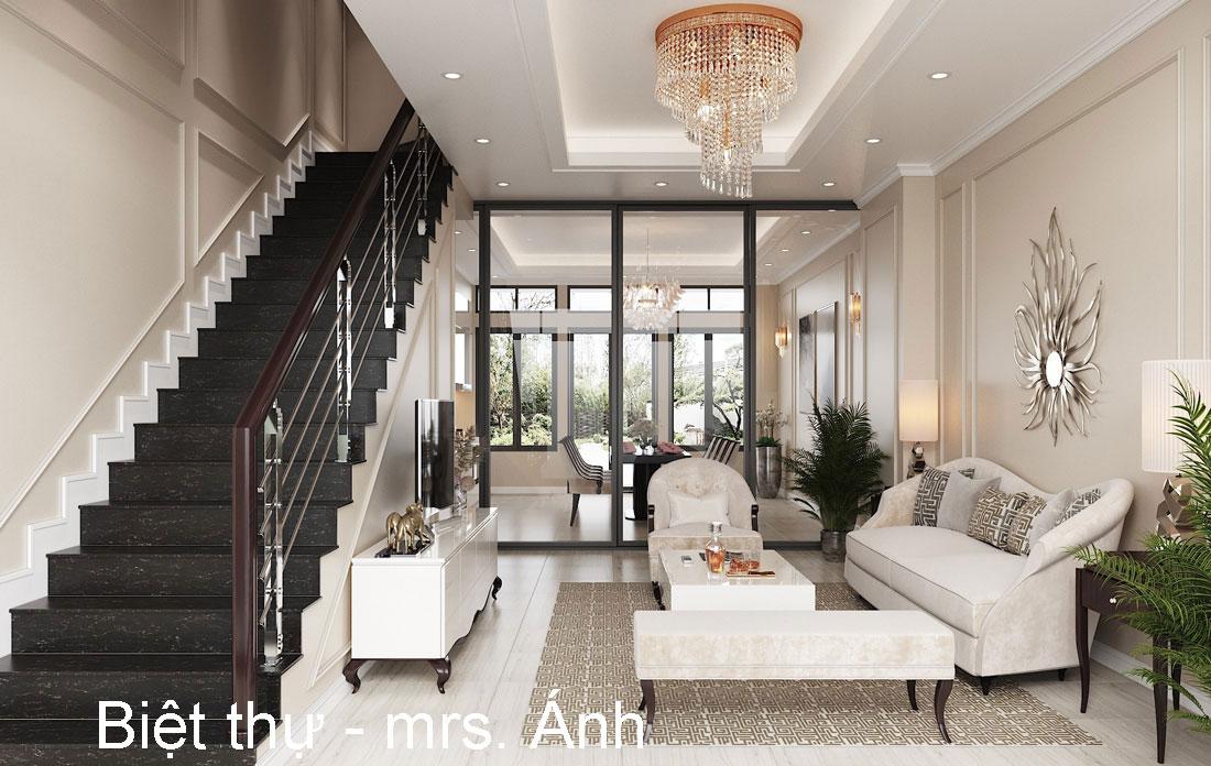 Thiết kế nội thất biệt thự hiện đại nhà chị Ánh