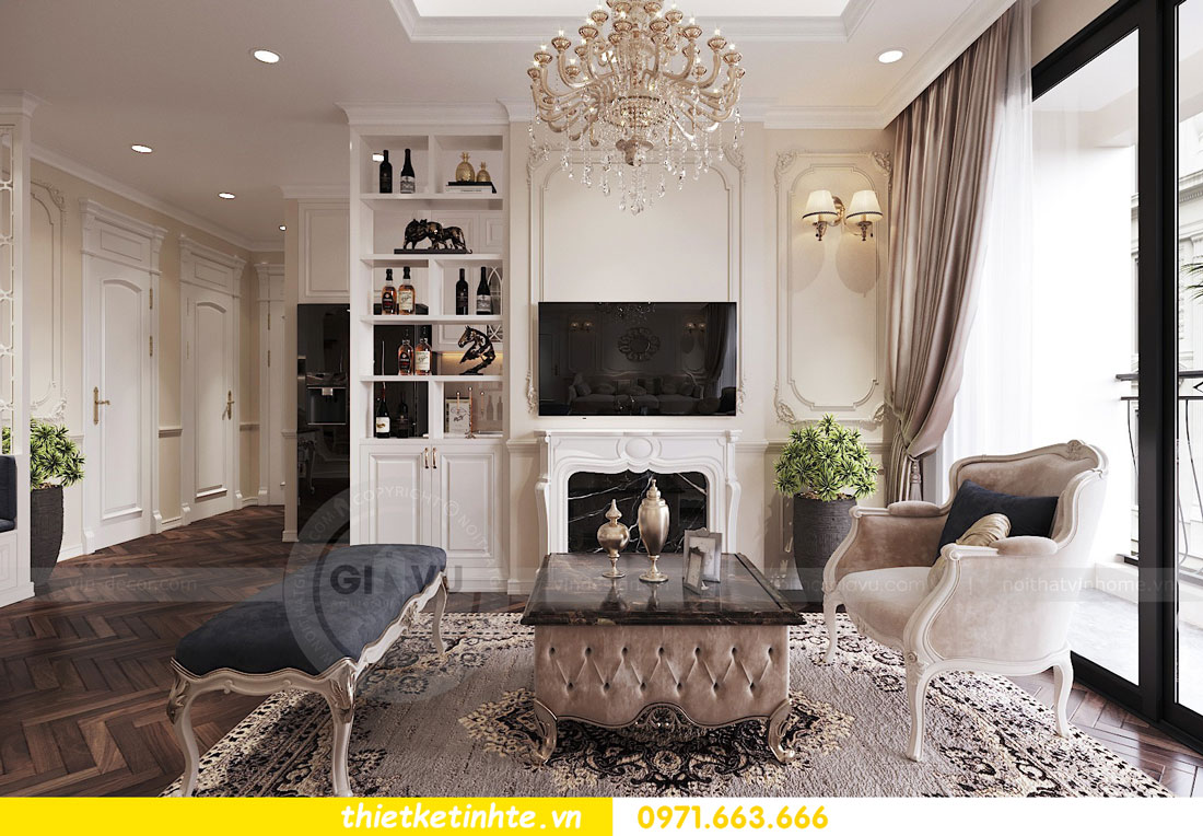 thiết kế nội thất căn hộ tân cổ điển tại Vinhomes Green Bay 1