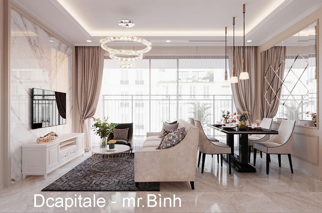 Thiết kế nội thất chung cư 90m2 3 phòng ngủ hiện đại