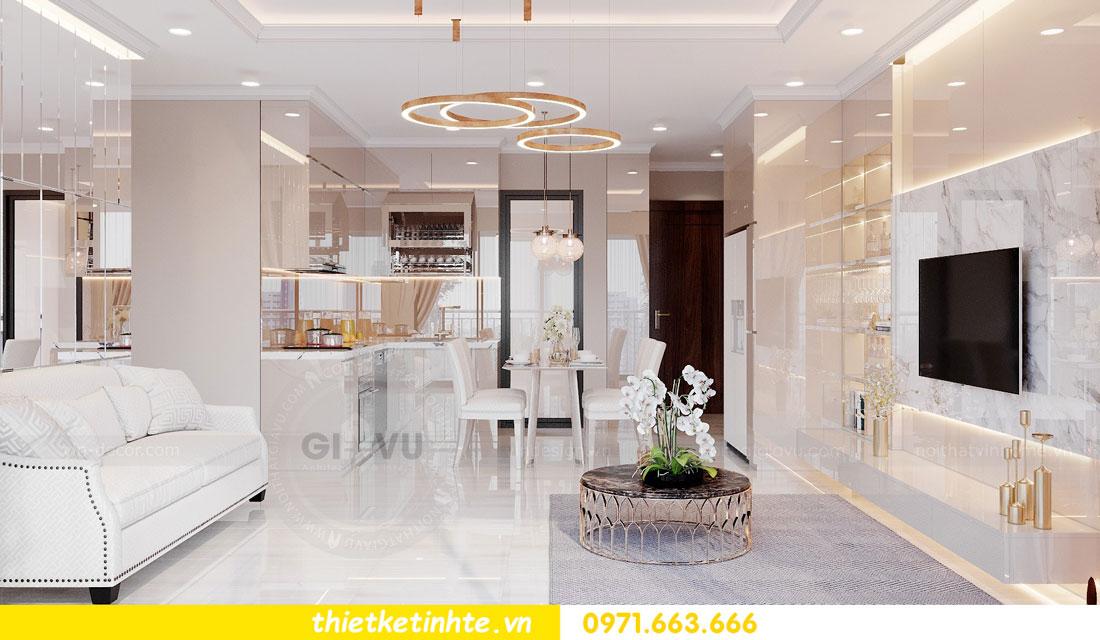 thiết kế nội thất chung cư với gỗ Acrylic nhà chị Huệ 03
