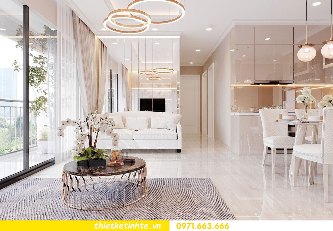 thiết kế nội thất chung cư với gỗ Acrylic nhà chị Huệ 4