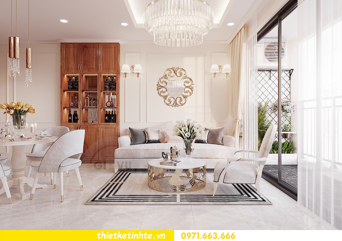 thiết kế nội thất chung cư với gỗ Sồi tại DCapitale anh Phương 04
