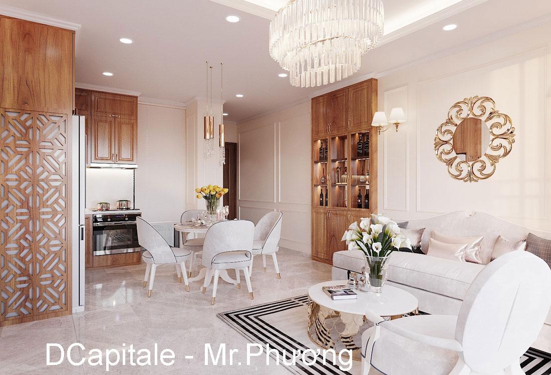 Thiết kế nội thất chung cư với gỗ Sồi tại DCapitale anh Phương