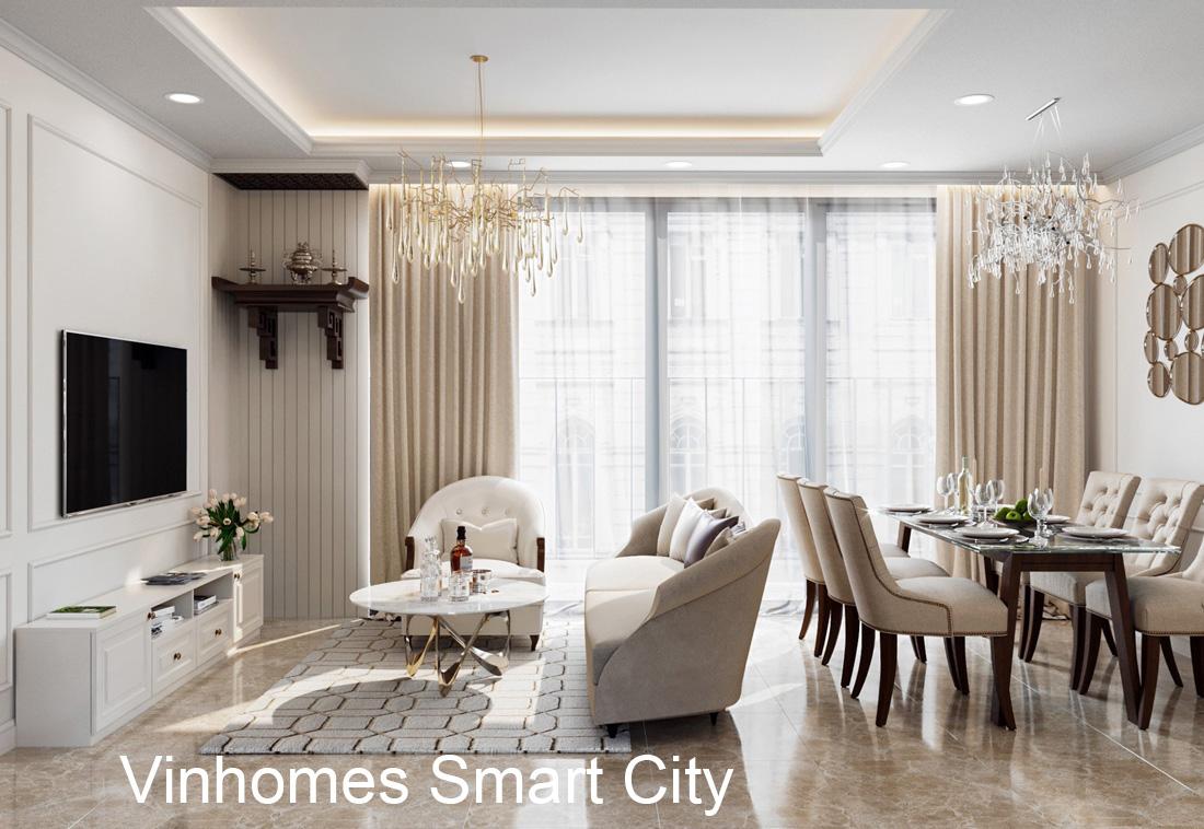 Thiết kế nội thất chung cư Vinhomes Smart City nhẹ nhàng, hiện đại
