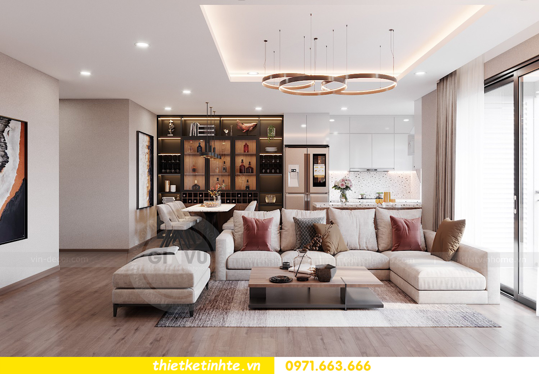 Thiết kế nội thất chung cư Smart City căn hộ 3 ngủ hiện đại 02