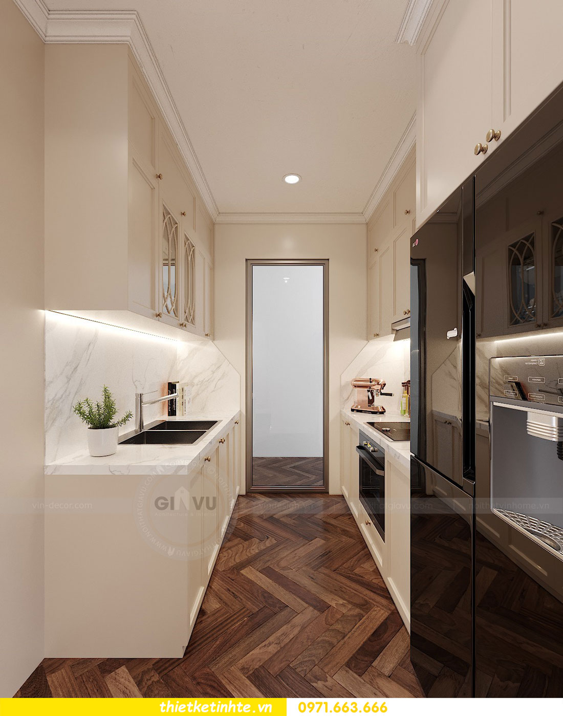 mẫu thiết kế nhà bếp chung cư đẹp, sang trọng, tiện nghi 3