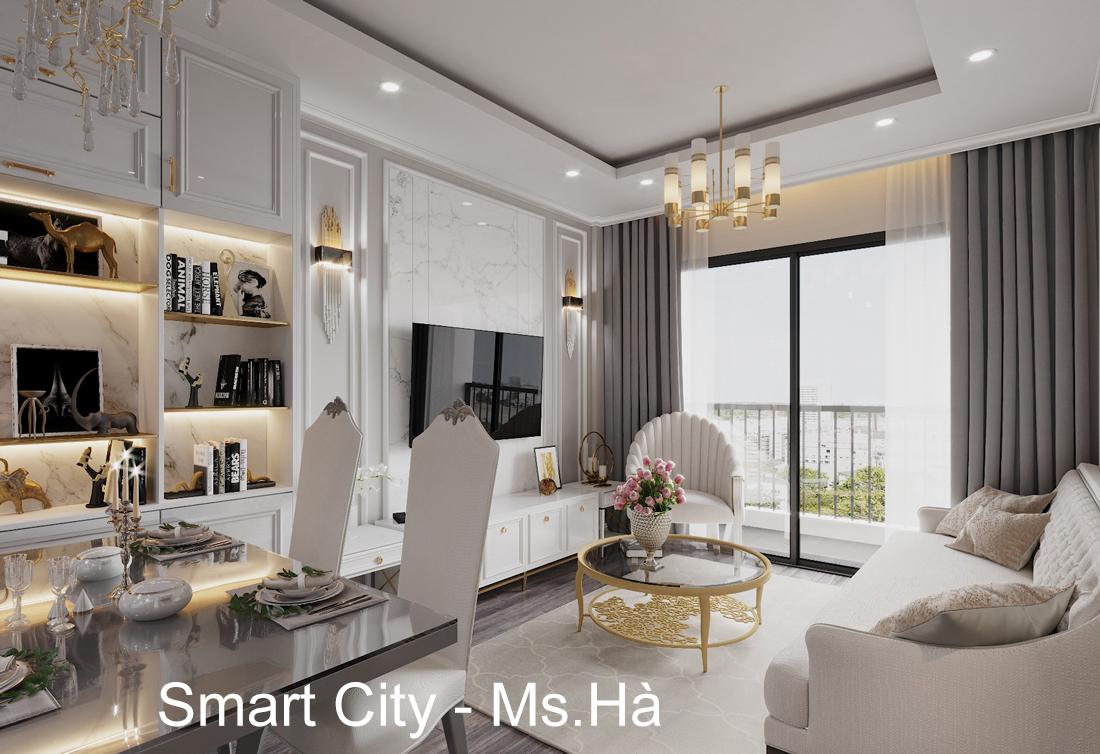 Thiết kế nội thất Smart City tòa S2.02 căn hộ 5B – Ms. Hà